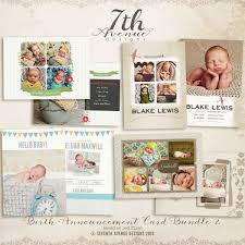 birth announcement card templates bundle 2 cards bacbundle2