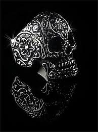 steel skull rings images Stainless steel engraved sugar skull ring jpg