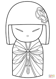 kimmi doll with dragonfly pattern coloring page free printable