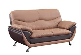 Bonded Leather Loveseat Sale 1498 00 2 Pc Sofa Set In Two Tone Brown Bonded Leather