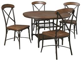 signature design by ashley rolena 5 piece bistro style metal wood signature design by ashley rolena 5 piece round dining room table set item number