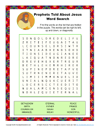 prophets told about jesus word search bible activities for