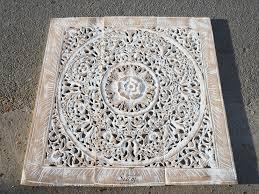 Whitewashed Wood Paneling Balinese Antique Wood Carving Wall Art Panel Siam Sawadee