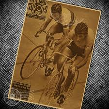 Cycling Home Decor Bicycle Cycling Race Vintage Poster Retro Wall Sticker Bar