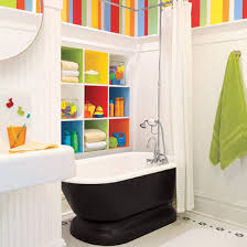 Kids Wall Shelves by Bathroom Colorful Kids Bathroom With Oval Black Tub Near