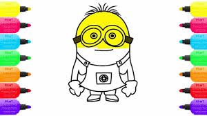 draw color minion coloring pages learn color kids