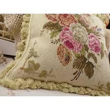 shabby floral handmade needlepoint pillow cushion with fringe