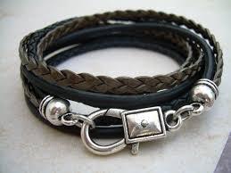 leather ladies bracelet images Leather bracelet triple wrap unisex mens womens mens bracelet jpg