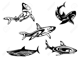 set of shark tattoos in tribal style isolated on white background
