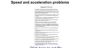 speed and acceleration problems google docs