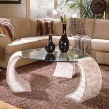 stone and glass coffee table buy magnussen homealbany stone and glass half round coffee tabl in