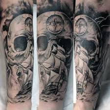 black and white nautical with skull and sailing ship