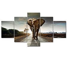 amazon com wieco art elephant large size 5 panels modern giclee