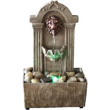 newport coast collection traditional lion head led fountain