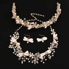 pearl bow necklace images 3 pieces bridal jewelry sets crystal pearl necklace earrings hair jpg