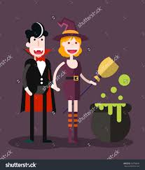 halloween purple and orange background couple dress halloween isolated flat vector stock vector 504796846