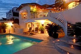 elegant luxury hillside homes design with marvelous lighting