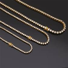 copper colored chain necklace images 3mm 4mm 5mm mens zircon tennis chain necklace gold silver color jpg