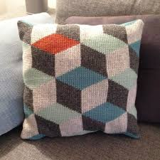 Knitted Cushions Free Patterns Tunisian Crochet Pillow 3d Blocks Crochet Pattern By Sara Bygvraa