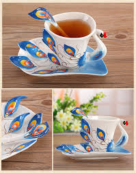 festival gift painting creative cup bone china 3d color emamel