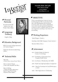 Architecture Student Resume Sample Interior Design Student Resume