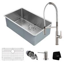 Kitchen Sink With Faucet Kraus Handmade All In One Undermount Stainless Steel 32 In Single