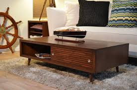 Living Room Table With Drawers Mid Century Modern Coffee Table With Drawer Cabinets Beds