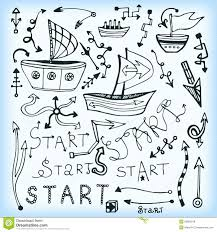 Set Of Arrow Multishape Doodle Ship And Lettering Start Vector