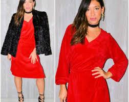 velvet red dress etsy