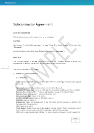 back to back subcontractor agreement docustream