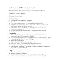 Resume Examples Housekeeping by Housekeeping Responsibilities 16 Private Housekeeper Resume Sample