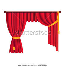 Curtains With Ribbons Heavy Drapes Red Fabric Gathered Gold Stock Vector 609697214