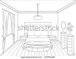 Interior House Drawing Linear Sketch Interior Room Plan Sketch Stock Vector 703069621