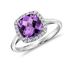 Amethyst Wedding Rings by Amethyst And Diamond Halo Cushion Ring In 14k White Gold 0 17 Ct