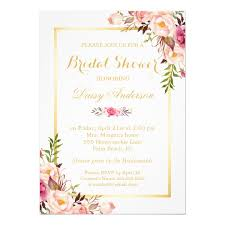 wedding invitations floral wedding bridal shower chic floral golden frame card zazzle