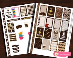 coffee planner stickers printable printable coffee themed planner stickers sler kit