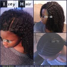 picture of hair sew ins sew in weave brazilian kinky curls with lace closure natural black
