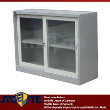 european style half height storage white cabinet with glass doors