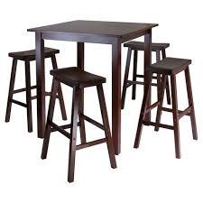 high table with bar stools 5 piece parkland set high table with saddle seat bar stools wood