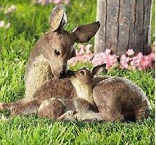 deer doe and fawn lying outdoor garden statue statues lawn