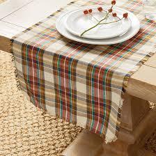 harvest plaid table runner ballard designs