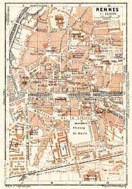 rennes map map of rennes in 1913 buy vintage map replica poster print or