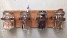 Mason Jar Bathroom Organizer Wooden Toothbrush Holders Ebay