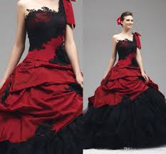 discount 2016 red black wedding gowns lace appliques gothic