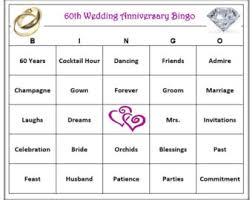 wedding words for bingo 50th anniversary party bingo 60 cards golden