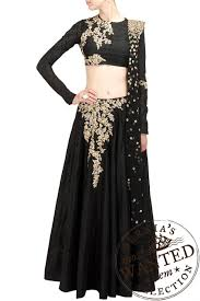 ridhi mehra black silk lehenga with floral pattern