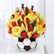 send fruit bouquet edible sports collection soccer arrangement just for kicks