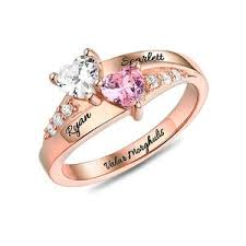 birthstone rings for personalized rings for women heart birthstone ring for