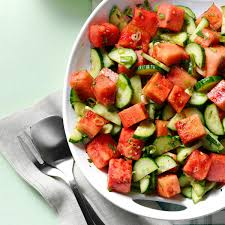 minty watermelon cucumber salad recipe taste of home