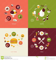 set of flat design concept icons for restaurant royalty free stock